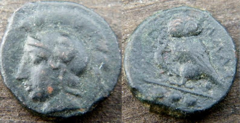 Ancient Coins - Sicily, Kamarina. Circa 410-405 BC. Æ Tetras/ Helmeted head of Athena left/ Owl grasping lizard