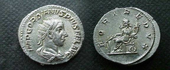 Ancient Coins - Gordian III ,as a Caesar,238AD.Fortuna seated left with rudder & cornucopiae.EF and  unusual  portrait!!