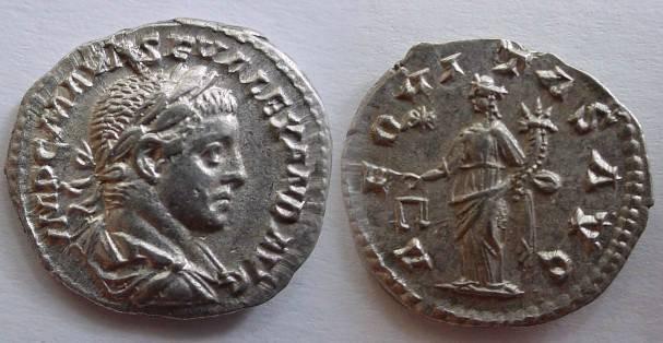 Ancient Coins - Severus Alexander Denarius. 222-228 AD. Aequitas standing left, holding scales & cornucopia