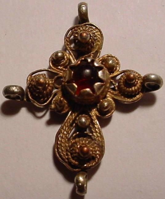 World Coins - BEAUTIFUL CROSS. HANDMADE WITH RED STONE IN THE MIDDLE