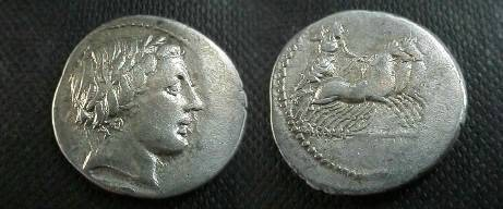 Ancient Coins - Anonymous Denarius,  86 BC.  Jupiter in quadriga right, hurling a thunderbolt.