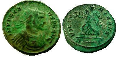 Ancient Coins - Probus AE Antoninianus,  Rome mint.  VICTORIA AVG, Victory walking left, holding wreath and trophy, R(thunderbolt)S in ex.
