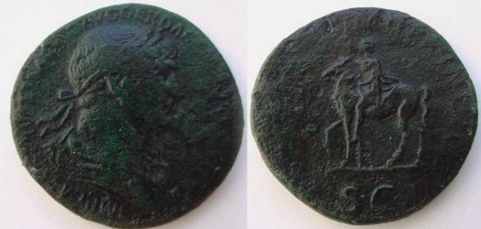 Ancient Coins - Trajan. 98-117 AD. Æ Sestertius .Trajan on horseback left, holding spear
