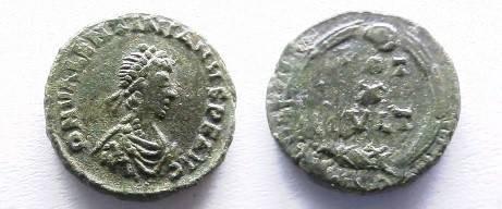 Ancient Coins - Valentinian II AE4. VOT X MVLT XX in wreath, SMHB in ex.