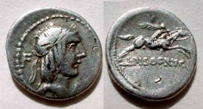 Ancient Coins - L Calpurnius Piso Frugi Denarius,  90 BC.  L PISO FRVGI below horseman galloping right, holding palm.