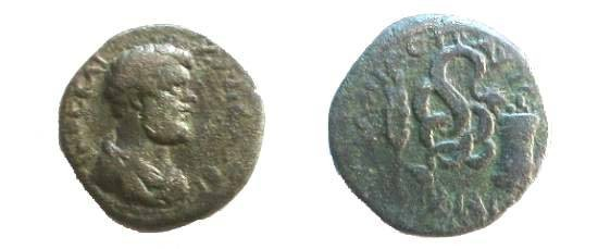 Ancient Coins - Clodius Albinus AE24 of Pautalia, Thrace. Glycon(serpent ) climbing a branch, reaching to eat some offerings atop a column, wheat ear to left.