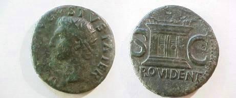 Ancient Coins - Divus Augustus AE Dupondius. PROVIDENT S-C, altar.