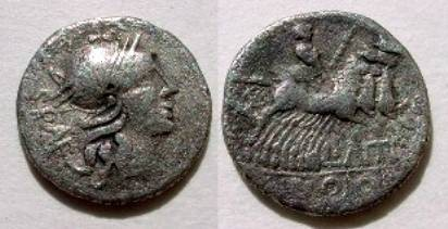 Ancient Coins - L Antestius Gragulus Denarius,  136 BC.  Jupiter in galloping quadriga, L ANTES below.
