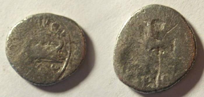 Ancient Coins - Mark Antony Legionary Denarius. 32-31 BC. Praetorian galley right / LEG XIII GEMINA