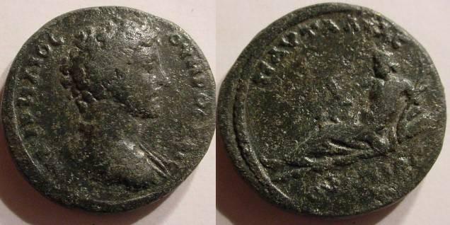 Ancient Coins - Thrace, Pautalia. Marcus Aurelius, as Caesar. AE, Bronze 24mm. River god.RARE