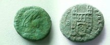 Ancient Coins - Flavius Victor or ?. 387-388 AD. AE, Bronze 13mm. Camp-gate. RIC IX ?. VF.