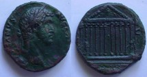 Ancient Coins - HADRIAN. 117-138 AD. Æ SestertiusThe great temple of Venus.Extremely rare