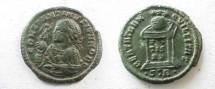 Ancient Coins - Constantine II AE3,  321 AD.  BEATA TRAN-QVILLITAS, altar with globe inscribed VOT.