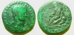 Ancient Coins - Diadumenian AE26 of Nikopolis ad Istrum.  river god seated left, leaning on urn from which waters flow.