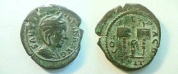 Ancient Coins - Tranquilina AE26 of Deultum, Thrace.  COL F L PAC DEVLT, Eagle on cippus between two standards.