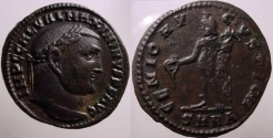 Ancient Coins - Maximinus II AE Follis.  GENIO AVGVSTI CMH, Genius standing left!!EF AND BEAUTIFUL!!