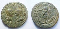 Ancient Coins - Gordian & Tranquillina Æ 28mm of Anchialus, Thrace.  Homonoia standing left holding patera & cornucopiae.