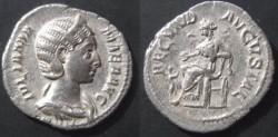 Ancient Coins - Julia Mamaea Denarius.  FECVND AVGVSTAE, Fecunditas seated left, reaching out to child.