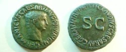 Ancient Coins - Germanicus Æ As struck under Claudius.  TI CLAVDIVS CAESAR AVG GERM P M TR P IMP P P around S-C.