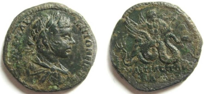 Ancient Coins - Caracalla AE28 of Pautalia, Thrace.Aesklepios flying right on back of winged serpent.