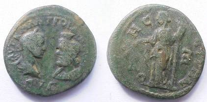 Ancient Coins - Gordian III & Serapis Æ28 (5 Assaria) of Odessos.  Demeter standing left with corn ears & torch, E in field to right.