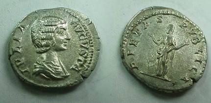 Ancient Coins - Julia Domna Denarius.  PIETAS PVBLICA, Pietas standing left, raising both hands at altar.
