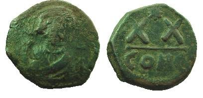 Ancient Coins - Nice Unattributed Bizantine half folice of PHOCAS. Star instead of a cross above XX.