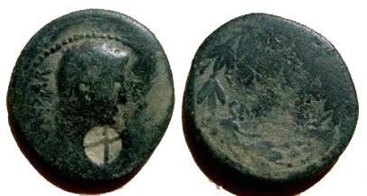 Ancient Coins - Augustus Æ 25mm.  AVGVSTVS within laurel wreath.