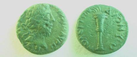 Ancient Coins - Commodus AE15 of Dionysopolis. Lighted torch.