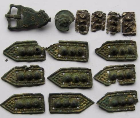 Ancient Coins - Complete  roman military belt with silver and bronze ornaments. Amazing artistry.100BC-300AD