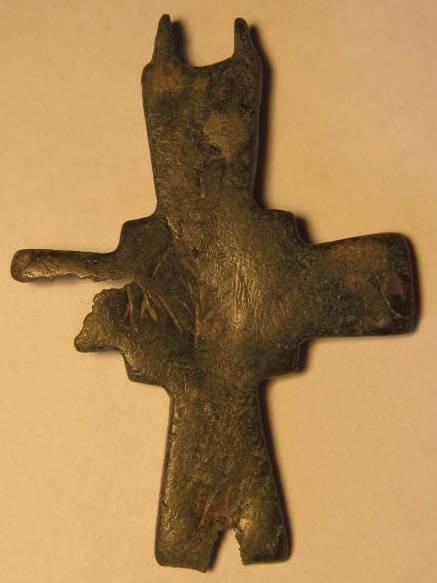 Ancient Coins - Byzantine bronze cross, interesting design. Beautiful apple green patina 51mm.