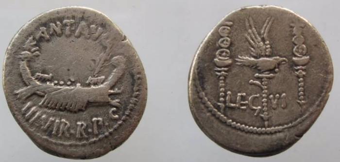 Ancient Coins - Marc Antony, AR legionary denarius, LEG VI