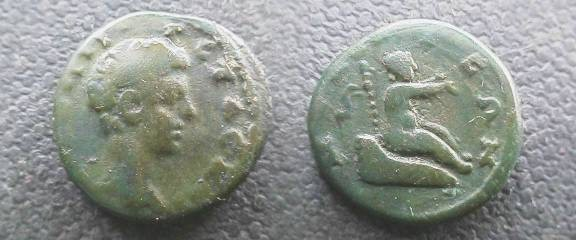 Ancient Coins - Geta AE21 of Nicaea, Bithynia.  Infant Dionysos in cradle right, thyrsus behind.