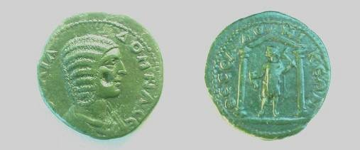 Ancient Coins - Julia Domna AE24 of Thessalonica.  Distyle temple with figure of Hephaestus within, holding tongs and hammer.