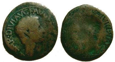 Ancient Coins - Brockage AE As of Tiberius.  Fine, 27mm.