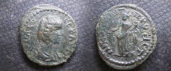 Ancient Coins - Julia Domna AE17 of Nikopolis ad Istrum.  Concordia standing left with patera & cornucopiae.