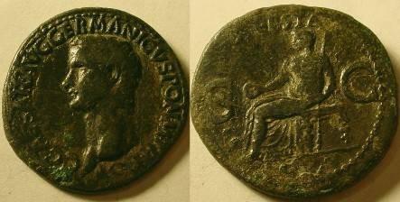 Ancient Coins - Gaius Caligula Æ As.Vesta seated left.