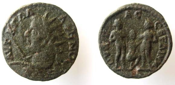 Ancient Coins - THRACE, Serdica. Gallienus. AD 253-268.The Three Graces,naked, hend. in hald ,middle one kneeling in unusual position.Rare