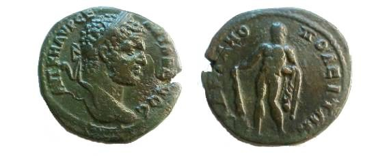 Ancient Coins - Caracalla AE27 of Hadrianopolis. Hercules standing left with club & lion skin.