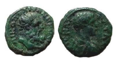 Ancient Coins - Caracalla AE19 of Nikopolis. Bearded head of Hercules right.