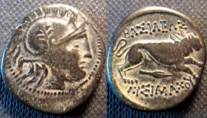 Ancient Coins - Kingdom of Thrace, Lysimachos, AE20. 323-281 BC. Helmeted head of Athena /lion running right