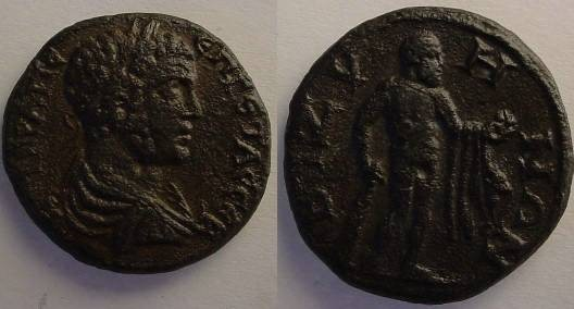Ancient Coins - Geta AE26 of Bizya, Thrace.Heracles naked standing left, holding  apples.