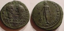 Ancient Coins - Macrinus and Diadumenian, 217 - 218 AD. AE-26.Marcianopolis, Moesia Inferior. Apollo, naked.