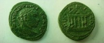 Ancient Coins - Elagabalus AE23 of Nicaea, Bithynia.  Hexstyle temple with peaked roof.