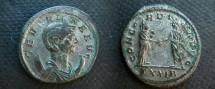 Ancient Coins - Severina Billon Antoninianius.  CONCORDIA AVGG, Aurelian and Severina standing with clasped hands.