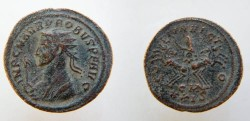 Ancient Coins - Probus AE Antoninianus. SOLI INVICTO, Sol in spread quadriga, holding whip,