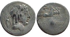 Ancient Coins - L Julius Bursio Denarius,  85 BC.  Victory in quadriga right holding wreath, L IVLI BVRSIO in ex.