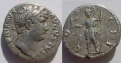Ancient Coins - Hadrian, AR denarius.  COS III Roma standing, head left, holding Victory and spear.