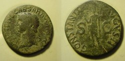 Ancient Coins - Claudius Æ As. Struck circa 41-50 AD. Constantia, helmeted and in military dress, standing left