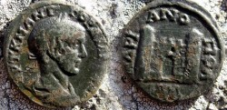 Ancient Coins - Gordian III Æ 26mm of Hadrianopolis.City gate, flanked by two towers